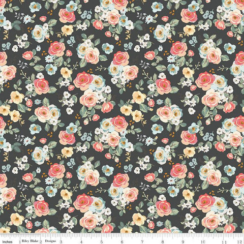 SALE Gingham Gardens Floral C10351 Charcoal - Riley Blake Designs - Small Flowers Dark Gray - Quilting Cotton Fabric