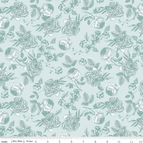 SALE Gingham Gardens Lined Floral C10352 Aqua - Riley Blake Designs - Sketched Flowers Blue - Quilting Cotton Fabric