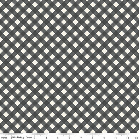 "SALE Gingham Gardens Check C10355 Charcoal - Riley Blake Designs - Dark Gray Cream Diagonal 3/8"" PRINTED Gingham  - Quilting Cotton Fabric"