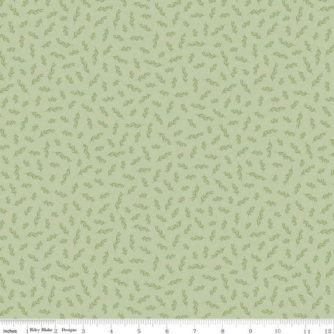 SALE Gingham Gardens Stems C10356 Green - Riley Blake Designs - Floral Sprigs Flowers Leaves - Quilting Cotton Fabric