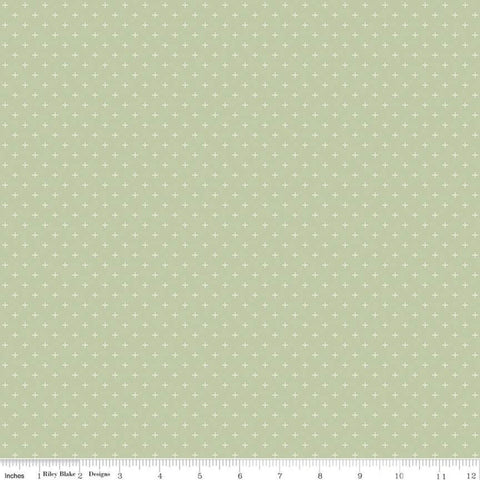 SALE Gingham Gardens Plus C10357 Green - Riley Blake Designs - Geometric Cream Plus Signs on Green - Quilting Cotton Fabric
