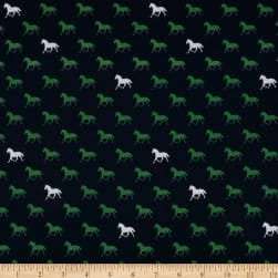 KNIT Derby Day Horses K6871 Navy by Riley Blake Designs - Horse Blue Green White - Jersey KNIT Cotton Lycra Spandex Stretch Fabric