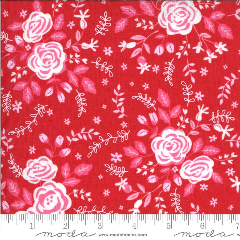 Be Mine Roses for My Love 20711 Kisses - Moda Fabrics - Valentine's Valentines Floral Flowers White Red Pink - Quilting Cotton Fabric