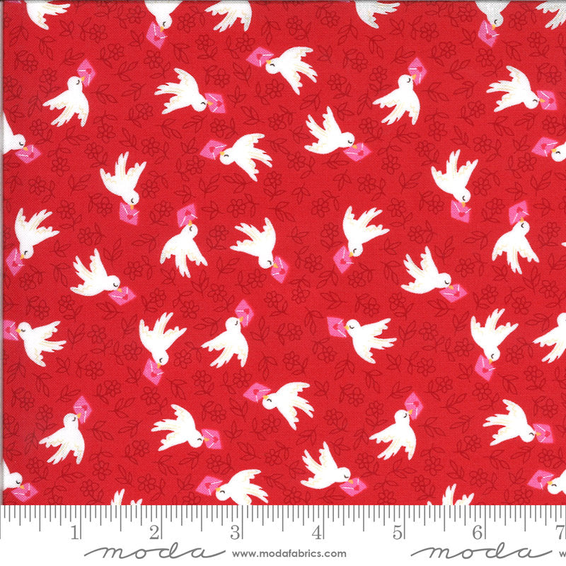 Be Mine Airmail 20713 Kisses - Moda Fabrics - Valentine's Day Valentines Valentine Birds Letters Flowers Red - Quilting Cotton Fabric
