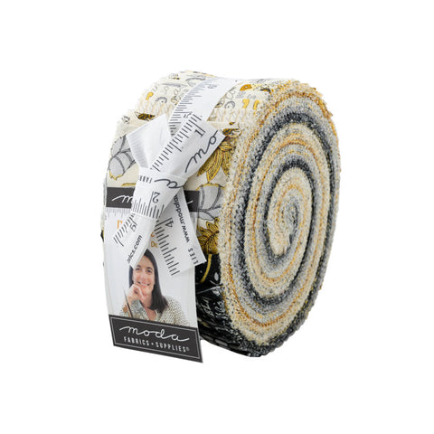 Bee Grateful 2.5-Inch Jelly Roll Rolie Polie 40 pieces - Moda - Precut Bundle - Bees Honeybees - Deb Strain - Quilting Cotton Fabric
