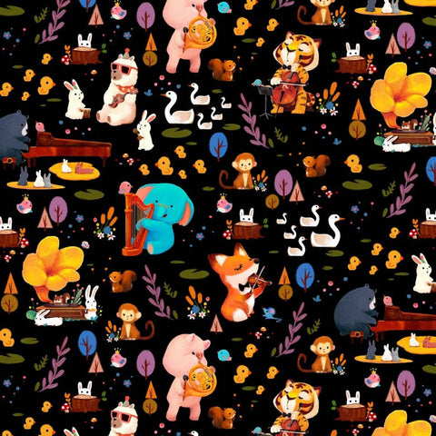 Woodland Musicians Forest Jam DC9012 Black by Michael Miller - Animals Music Musical Instruments Juvenile - Quilting Cotton Fabric