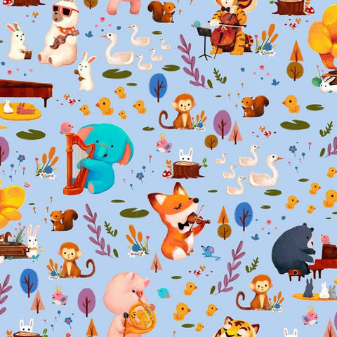 Woodland Musicians Forest Jam DC9012 Breeze by Michael Miller - Animals Music Musical Instruments Juvenile Blue - Quilting Cotton Fabric