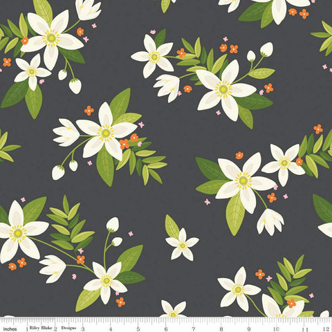 SALE Grove Main C10140 Charcoal - Riley Blake Designs - Floral Gray with Off-White Flowers - Quilting Cotton Fabric