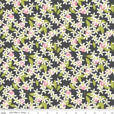 SALE Grove Blossoms C10142 Charcoal - Riley Blake Designs - Floral Gray with Off-White Flowers - Quilting Cotton Fabric