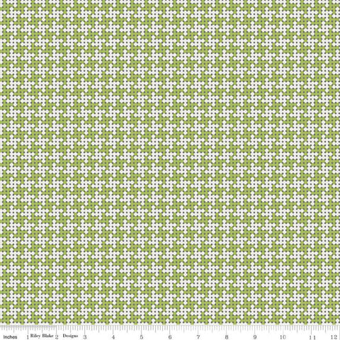 SALE Grove Houndstooth C10146 Limeade - Riley Blake Designs - Geometric Dots Green Off-White - Quilting Cotton Fabric