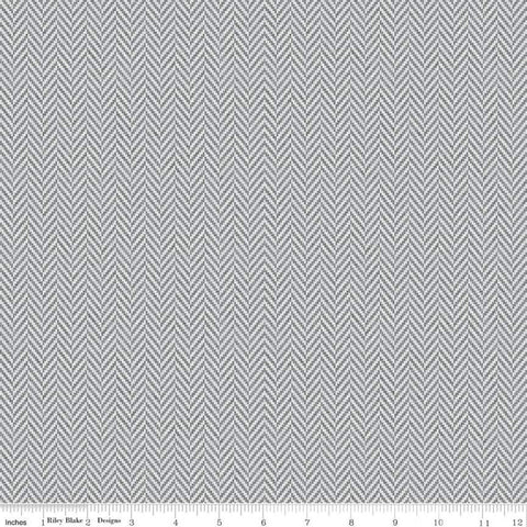 SALE All About Plaids Herringbone C636 Gray by Riley Blake Designs - Broken Staggered Zig Zag - Quilting Cotton Fabric