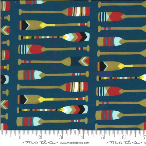 Lakeside Story Camp Wannaquilt 13354 Sailcloth - Moda Fabrics - Oars Rowing Outdoors Great Lakes Dark Blue - Quilting Cotton Fabric