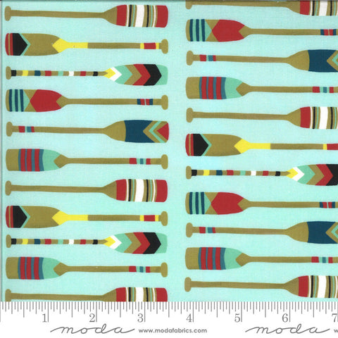 Lakeside Story Camp Wannaquilt 13354 Robins Egg - Moda Fabrics - Oars Rowing Outdoors Great Lakes Aqua Blue - Quilting Cotton Fabric
