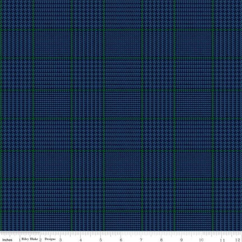 SALE All About Plaids Tweed C639 Blue by Riley Blake Designs - Blue with Green Plaid - Quilting Cotton Fabric