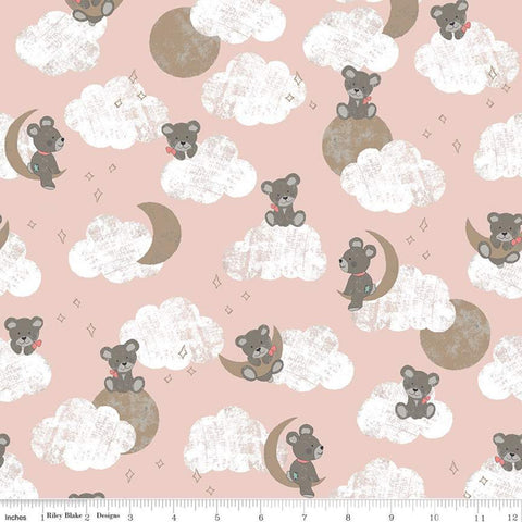 Sleep Tight Main SC10260 Pink SPARKLE - Riley Blake Designs - Teddy Bears Clouds Moon Champagne SPARKLE - Quilting Cotton Fabric