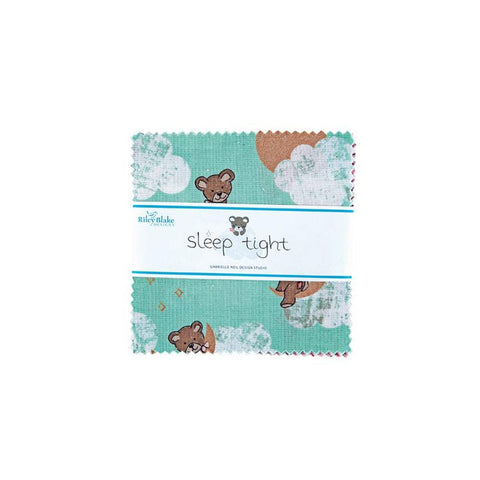 "SALE Sleep Tight Charm Pack 5"" Stacker Bundle - Riley Blake Designs - 42 piece Precut Pre cut - Teddy Bears SPARKLE - Quilting Cotton Fabric"