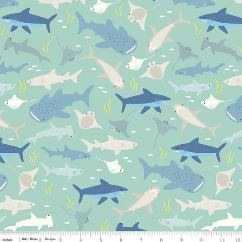 SALE Riptide Main C10300 Mint - Riley Blake Designs - Sharks Stingrays Fish Ocean Plants Sea Green - Quilting Cotton Fabric