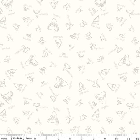 SALE Riptide Fossils C10301 Cream - Riley Blake Designs - Sea Ocean Sharks Teeth Names - Quilting Cotton Fabric