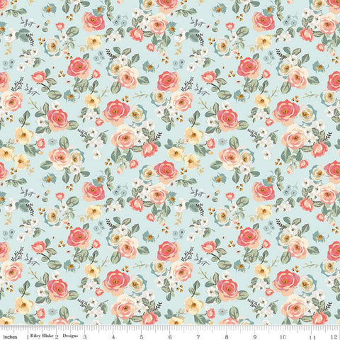 SALE Gingham Gardens Floral C10351 Aqua - Riley Blake Designs - Small Flowers Blue - Quilting Cotton Fabric