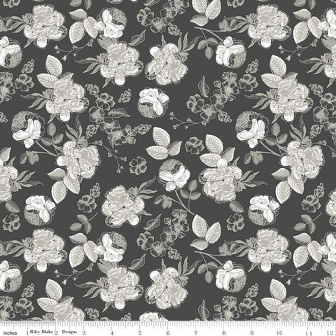 SALE Gingham Gardens Lined Floral C10352 Charcoal - Riley Blake Designs - Sketched Flowers Gray - Quilting Cotton Fabric
