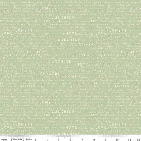 SALE Gingham Gardens Text C10354 Green - Riley Blake Designs - Cream Words Script Love Joy Home Sunshine Grateful - Quilting Cotton Fabric