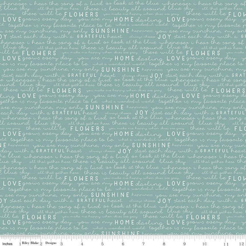 SALE Gingham Gardens Text C10354 Teal - Riley Blake Designs - Green Blue Words Script Love Home Sunshine Grateful - Quilting Cotton Fabric