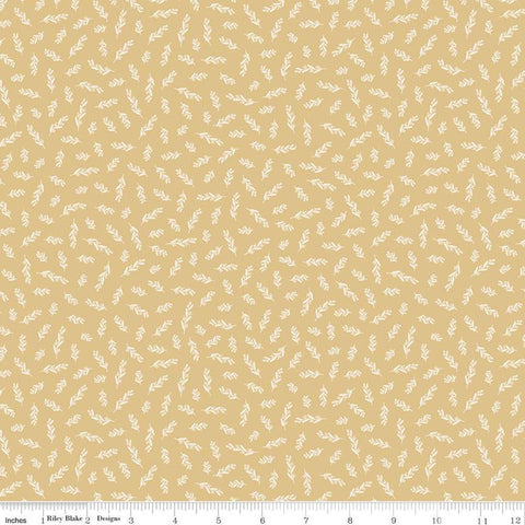 SALE Gingham Gardens Stems C10356 Gold - Riley Blake Designs - Floral Sprigs Cream Flowers Leaves - Quilting Cotton Fabric
