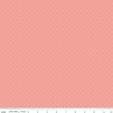 SALE Gingham Gardens Plus C10357 Coral - Riley Blake Designs - Geometric Cream Plus Signs on Orange Pink - Quilting Cotton Fabric