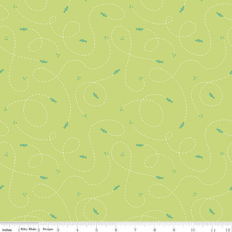 SALE Riptide Hunt C10305 Lime  - Riley Blake Designs - Ocean Sea Sharks Dashed Lines Curls Loops Green - Quilting Cotton Fabric