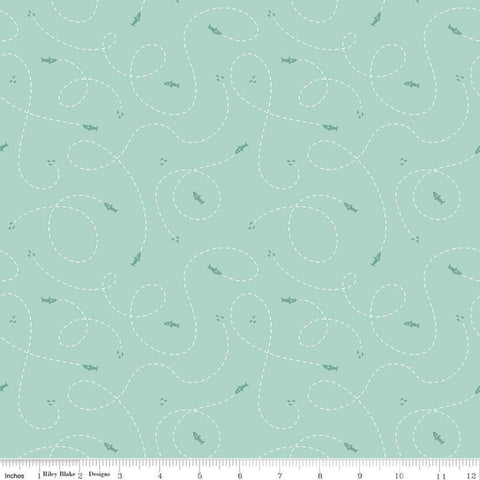 SALE Riptide Hunt C10305 Mint - Riley Blake Designs - Ocean Sea Sharks Dashed Lines Curls Loops Green - Quilting Cotton Fabric