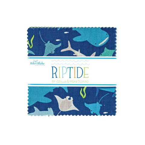 "SALE Riptide Charm Pack 5"" Stacker Bundle - Riley Blake Designs - 42 piece Precut Pre cut - Sharks Ocean - Quilting Cotton Fabric"