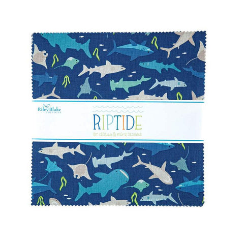 "SALE Riptide Layer Cake 10"" Stacker Bundle - Riley Blake Designs - 42 piece Precut Pre cut - Sharks Ocean - Quilting Cotton Fabric"