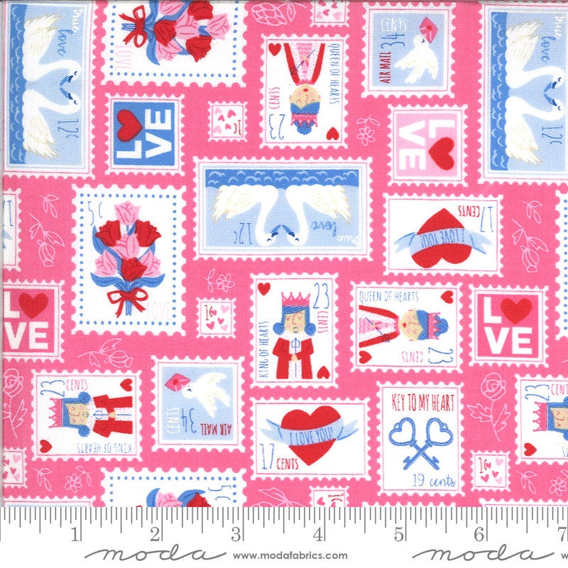 Be Mine Love Stamp 20712 Sweetheart - Moda Fabrics - Valentine's Day Valentines Valentine Stamps Pink - Quilting Cotton Fabric