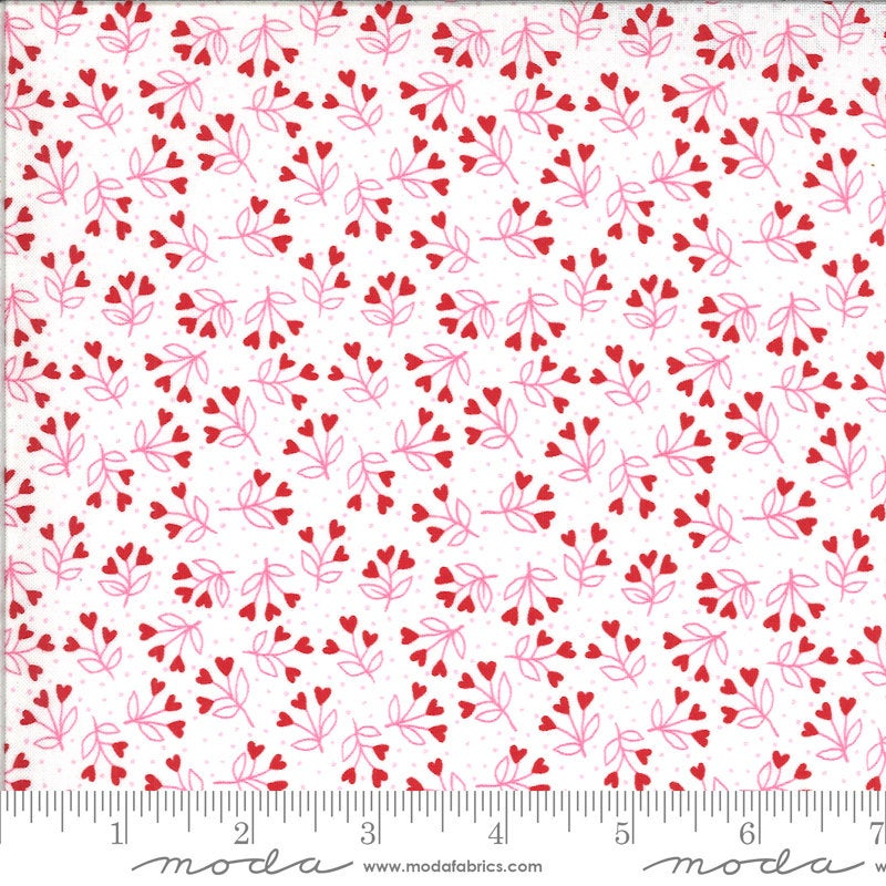 Be Mine Loves a Bloom 20715 Love Dove - Moda Fabrics - Valentine's Valentines Floral Hearts Flowers White Red Pink - Quilting Cotton Fabric