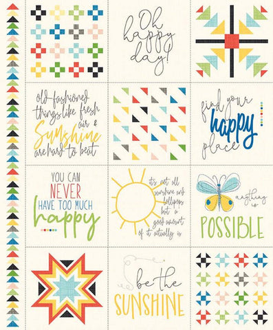 SALE Oh Happy Day! Panel P10318 by Riley Blake Designs - Postive Sayings Geometric Quilt Designs Cream - Quilting Cotton Fabric