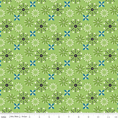 SALE Oh Happy Day! Floral C10311 Green - Riley Blake Designs - Flowers Geometric - Quilting Cotton Fabric
