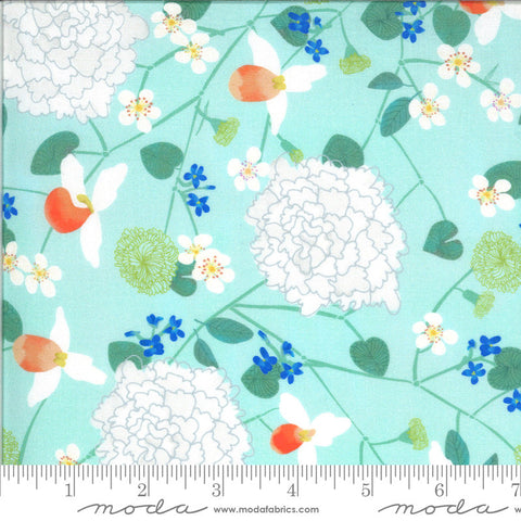 Lakeside Story Midwest State Flowers 13350 Robins Egg - Moda Fabrics - Floral Flowers Great Lakes Aqua Blue - Quilting Cotton Fabric
