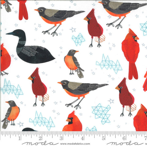 Lakeside Story Midwest State Birds 13351 Foam - Moda Fabrics - Bird Cardinals Loons Robins Great Lakes White - Quilting Cotton Fabric