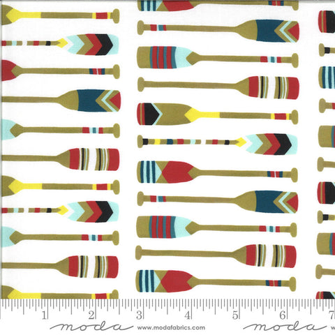 Lakeside Story Camp Wannaquilt 13354 Foam - Moda Fabrics - Oars Rowing Outdoors Great Lakes White - Quilting Cotton Fabric