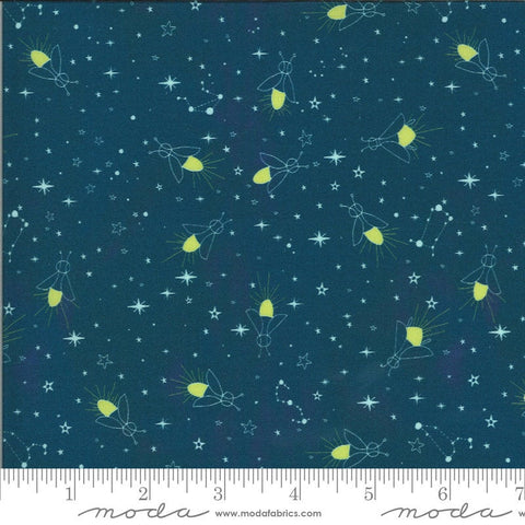 Lakeside Story Fireflies 13355 Sailcloth - Moda Fabrics - Lightning Bugs Glowworms Great Lakes Stars Dark Blue - Quilting Cotton Fabric