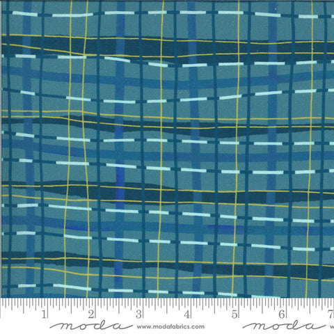 Lakeside Story Plaid Blanket 13356 Sailcloth - Moda Fabrics - Wonky Irregular Great Lakes Dark Blue - Quilting Cotton Fabric