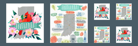 Lakeside Story State Parks Indiana Panel 13358 Multi - Moda - Map Cities Cardinals Peonies Great Lakes - Quilting Cotton Fabric