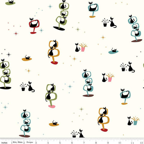 SALE Mod Meow Main C10280 Cream - Riley Blake Designs - Black Cat Cats - Quilting Cotton Fabric