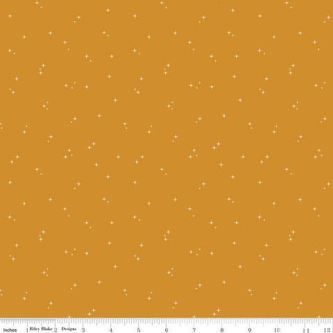 Mod Meow Stars C10284 Butterscotch - Riley Blake Designs - Cat Cats Star Clusters Gold - Quilting Cotton Fabric
