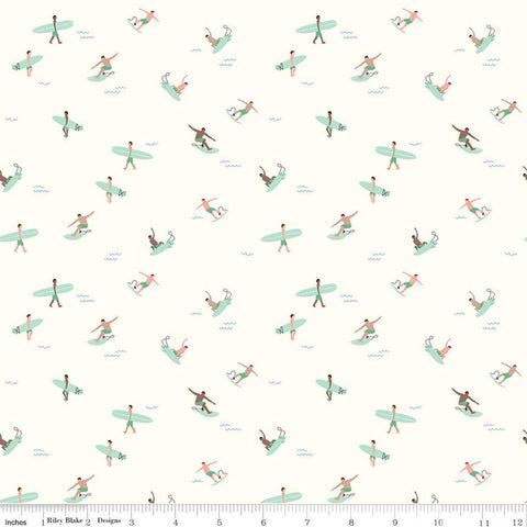 SALE Riptide Surfs Up C10303 Cream  - Riley Blake Designs - Ocean Sea Surfers Surboards Surboard - Quilting Cotton Fabric