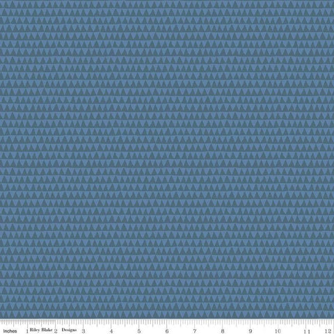 SALE Riptide Smile C10307 Denim - Riley Blake Designs - Ocean Sea Sharks Shark Teeth Trianges Geometric Blue - Quilting Cotton Fabric