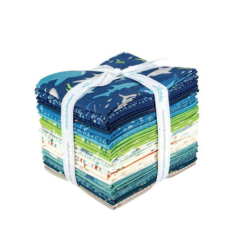 SALE Riptide Fat Quarter Bundle 24 pieces - Riley Blake Designs - Pre cut Precut - Sharks Ocean - Quilting Cotton Fabric