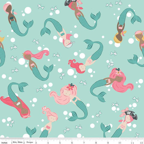 Ahoy! Mermaids Main C10340 Seafoam - Riley Blake Designs - Mermaid Fish Polka Dot Bubbles Green Children's -  Quilting Cotton Fabric