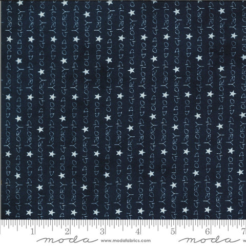 American Gathering Old Glory 49120 Navy - Moda Fabrics - Americana Patriotic Text Words Stars Blue - Quilting Cotton Fabric