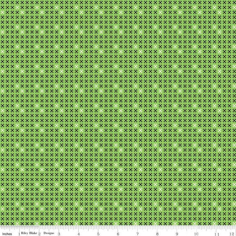 SALE Oh Happy Day! Shoo Fly C10317 Green - Riley Blake Designs - Small Shoofly Quilt Blocks Geometric - Quilting Cotton Fabric